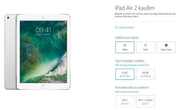 iPad Air 2 Preise (Stand: Oktober 2016)